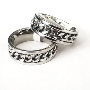 New stainless steel ring with spinning chain